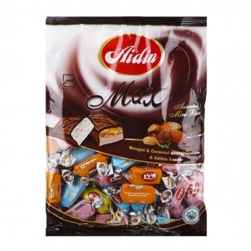شکلات ماکس نوقا وكارامل با روكش كاكائويي ومغز بادام زميني ، 220 گرمی