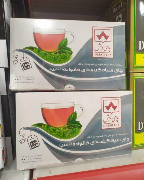 چای سیاه کیسه ای خانواده عطری دبش (100 عددی)