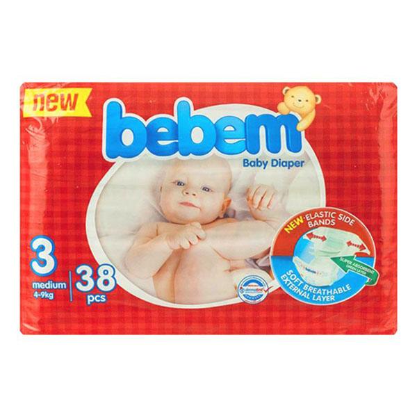 پوشک بچه ببم دوبل متوسط سایز 3 بسته 38 عددی