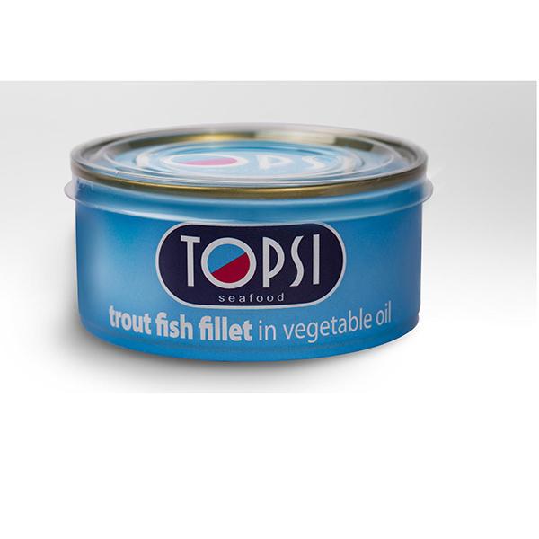 کنسرو ماهی قزل آلا در روغن گیاهی تاپسی – 180 گرم
