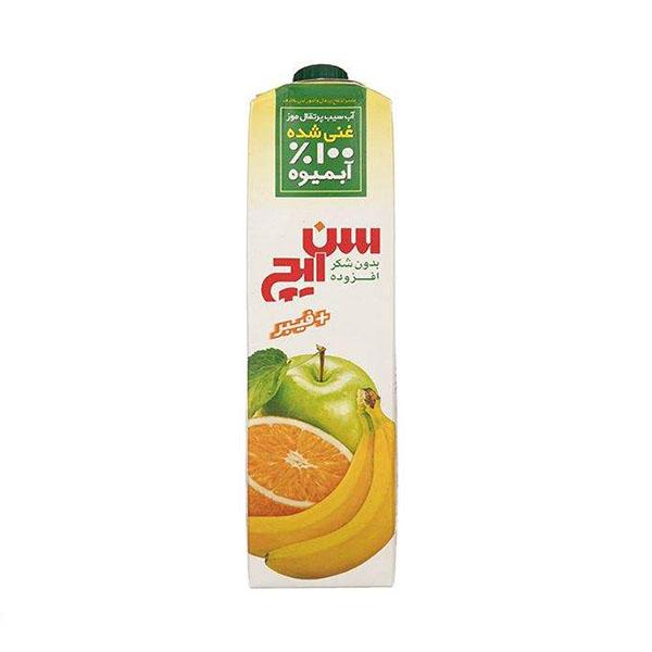آب سیب پرتقال موز سن ایچ غنی شده با فیبر – 1 لیتر